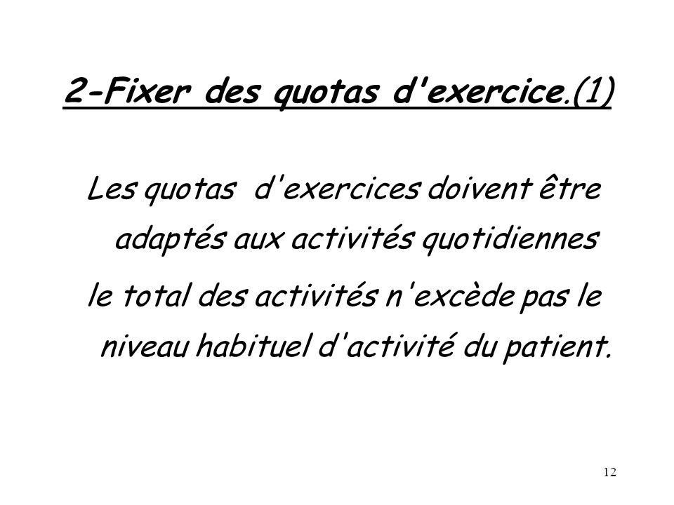 12 2-Fixer des quotas d'exercice.(1) Les quotas d'exercices doivent être adaptés aux activités quotidiennes le total des activités n'excède pas le niv