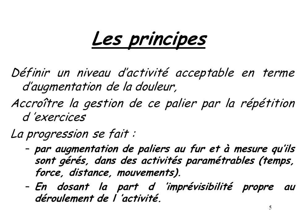 5 Les principes Définir un niveau dactivité acceptable en terme daugmentation de la douleur, Accroître la gestion de ce palier par la répétition d exe