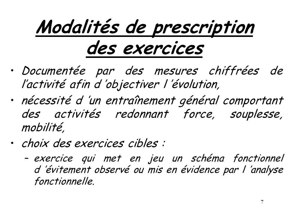 7 Modalités de prescription des exercices Documentée par des mesures chiffrées de lactivité afin d objectiver l évolution, nécessité d un entraînement