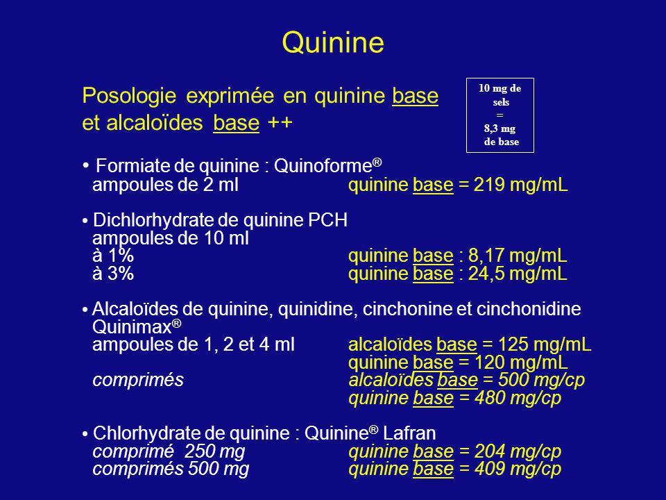 Quinine Posologie exprimée en quinine base et alcaloïdes base ++ Formiate de quinine : Quinoforme ® ampoules de 2 ml quinine base = 219 mg/mL Dichlorh