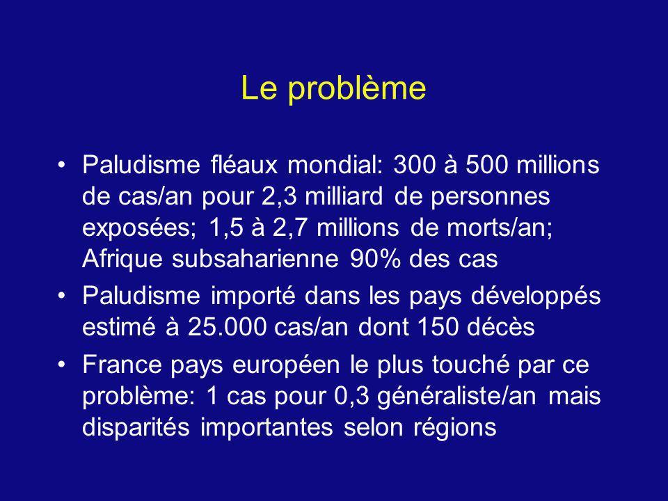 Le problème Paludisme fléaux mondial: 300 à 500 millions de cas/an pour 2,3 milliard de personnes exposées; 1,5 à 2,7 millions de morts/an; Afrique su