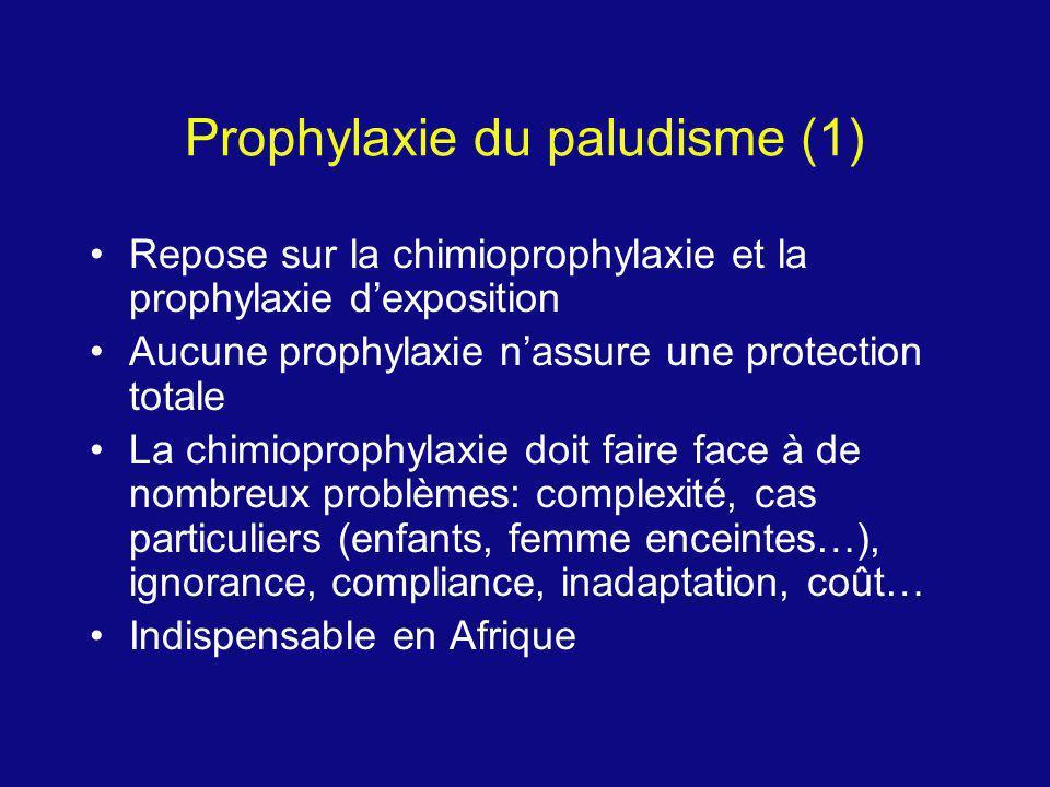 Prophylaxie du paludisme (1) Repose sur la chimioprophylaxie et la prophylaxie dexposition Aucune prophylaxie nassure une protection totale La chimiop
