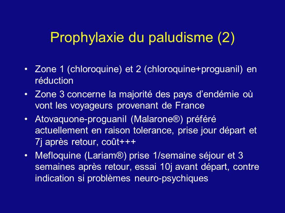 Prophylaxie du paludisme (2) Zone 1 (chloroquine) et 2 (chloroquine+proguanil) en réduction Zone 3 concerne la majorité des pays dendémie où vont les