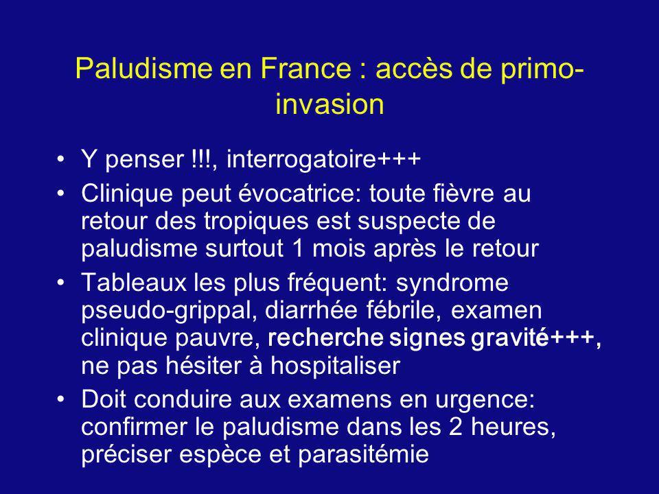 Paludisme en France : accès de primo- invasion Y penser !!!, interrogatoire+++ Clinique peut é vocatrice: toute fi è vre au retour des tropiques est s