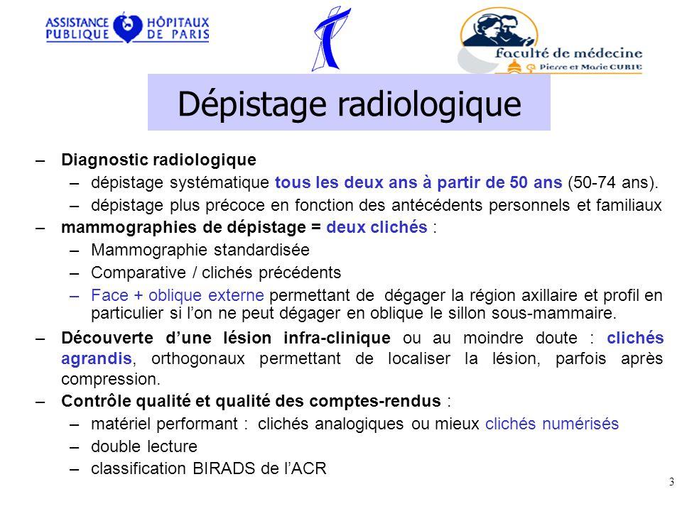 Lésions non infiltrantes –Carcinome canalaire in situ = intracanalaire –Carcinome lobulaire in situ Lésion infiltrantes –Carcinome canalaire infiltrant (80%) –Carcinome lobulaire infiltrant –Carcinomes mucineux = colloïdes, médullaires, papillaires, tubuleux –A part : maladie de Paget du mamelon +/- associée à une lésion intracanalaire ou invasive –Autres : –tumeurs non épithéliales : sarcome –Lymphome –métastases Histologie 14