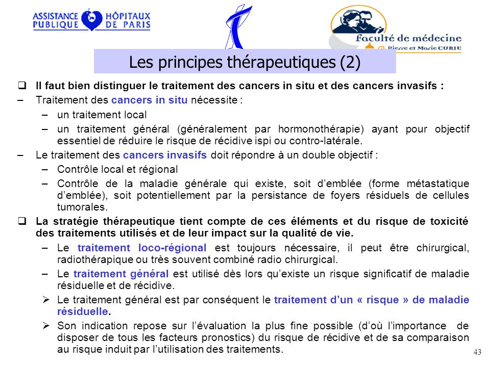 Il faut bien distinguer le traitement des cancers in situ et des cancers invasifs : –Traitement des cancers in situ nécessite : –un traitement local –