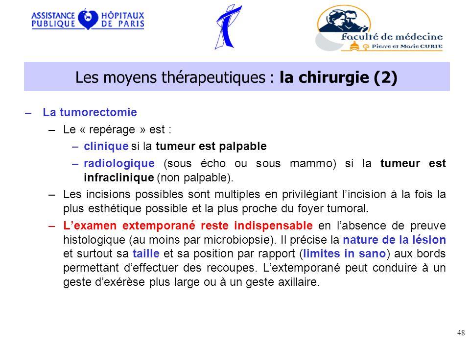 –La tumorectomie –Le « repérage » est : –clinique si la tumeur est palpable –radiologique (sous écho ou sous mammo) si la tumeur est infraclinique (non palpable).
