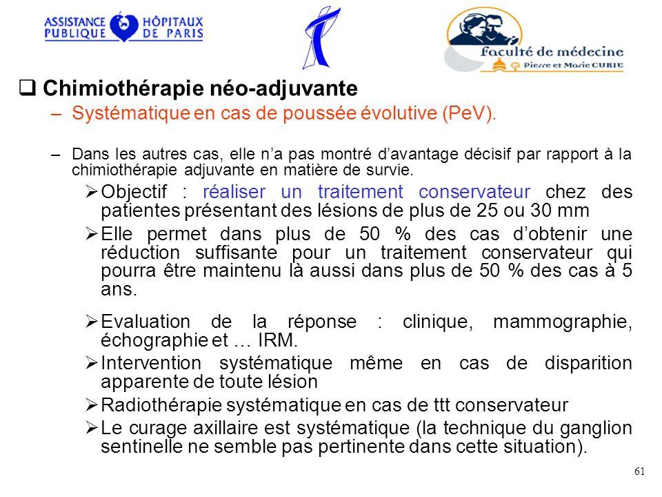 Chimiothérapie néo-adjuvante –Systématique en cas de poussée évolutive (PeV).