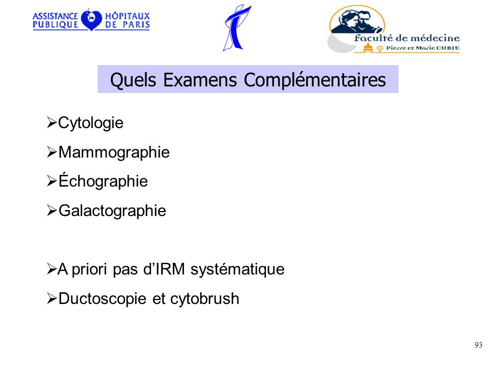 Quels Examens Complémentaires Cytologie Mammographie Échographie Galactographie A priori pas dIRM systématique Ductoscopie et cytobrush 93