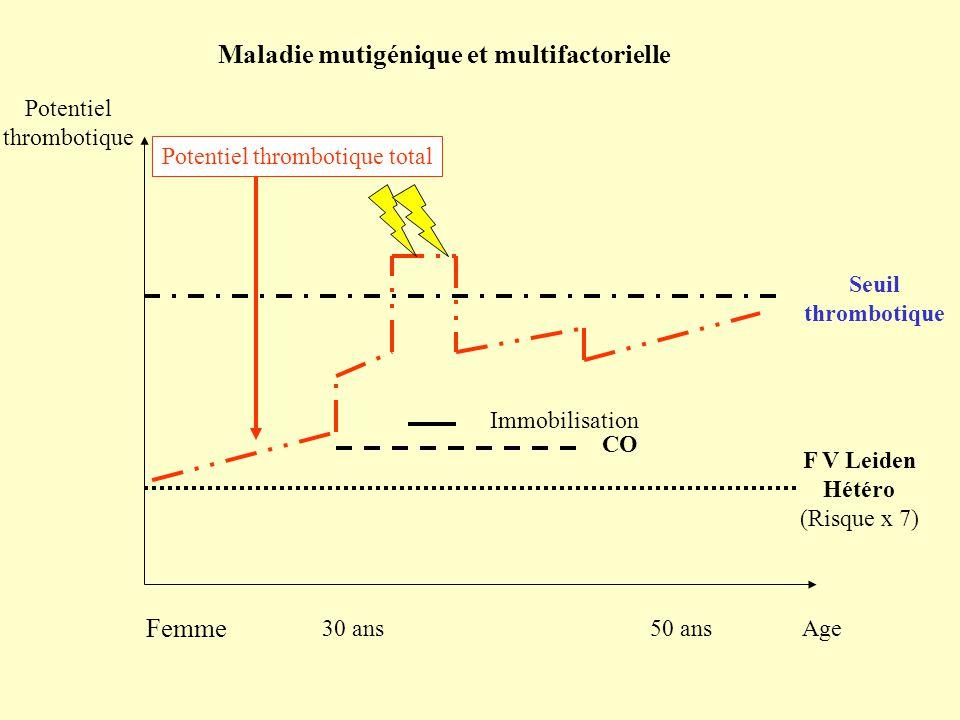 Potentiel thrombotique Age F V Leiden Hétéro (Risque x 7) Seuil thrombotique 50 ans30 ans CO Potentiel thrombotique total Immobilisation Maladie mutig