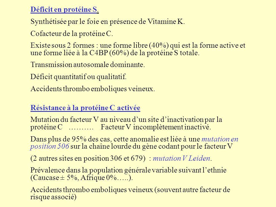 Déficit en protéine S. Synthétisée par le foie en présence de Vitamine K. Cofacteur de la protéine C. Existe sous 2 formes : une forme libre (40%) qui