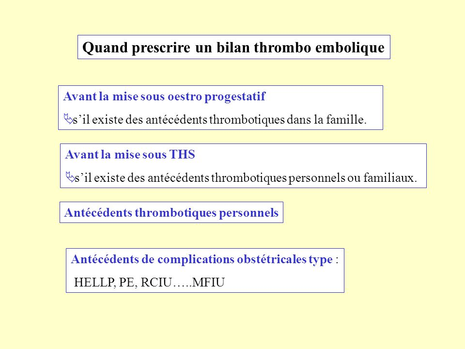 Quand prescrire un bilan thrombo embolique Avant la mise sous oestro progestatif sil existe des antécédents thrombotiques dans la famille. Avant la mi