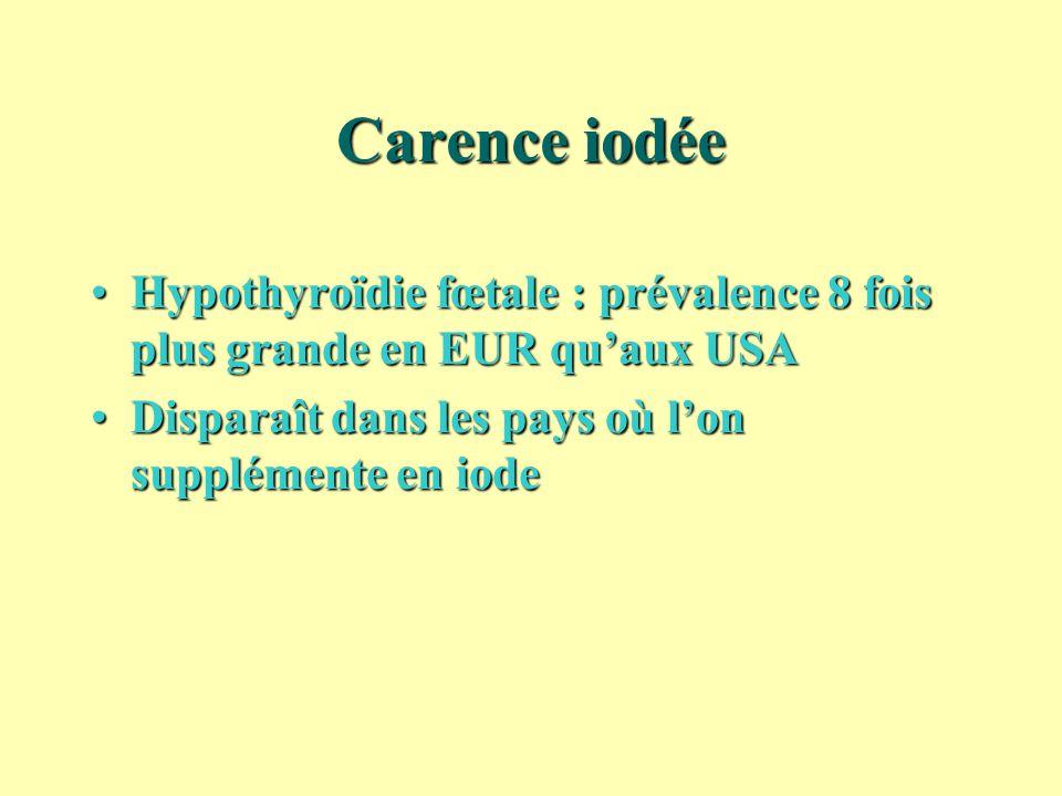 Carence iodée Hypothyroïdie fœtale : prévalence 8 fois plus grande en EUR quaux USAHypothyroïdie fœtale : prévalence 8 fois plus grande en EUR quaux U