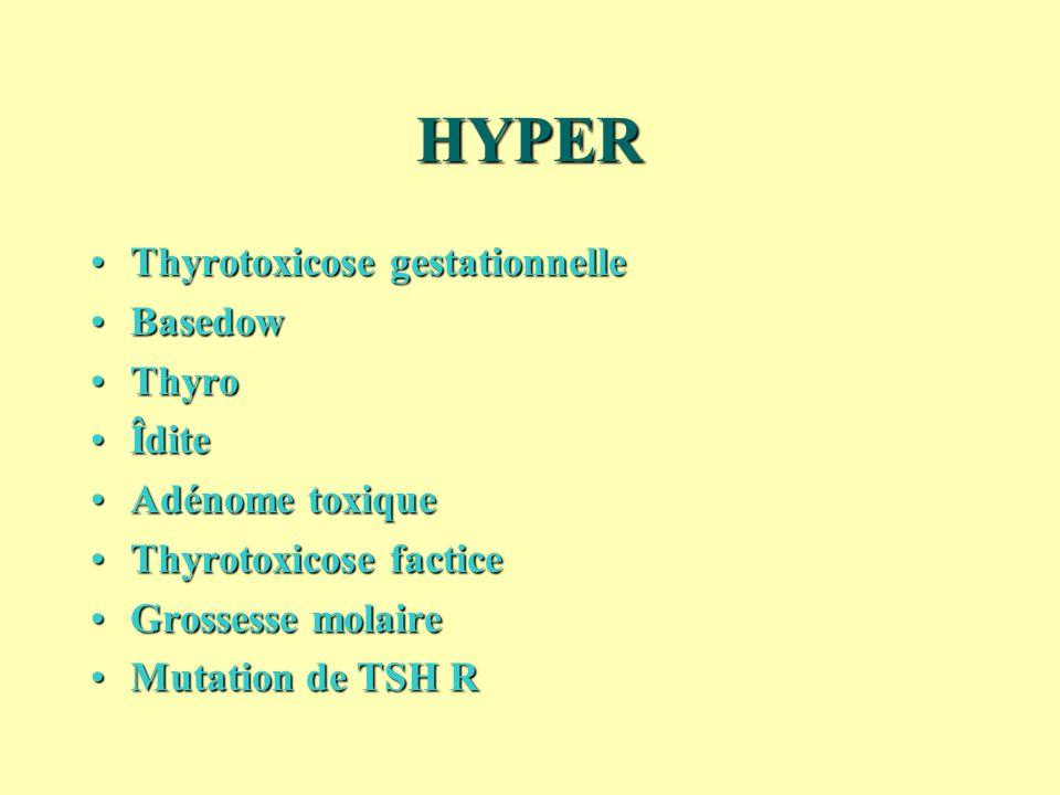 HYPER Thyrotoxicose gestationnelleThyrotoxicose gestationnelle BasedowBasedow ThyroThyro ÎditeÎdite Adénome toxiqueAdénome toxique Thyrotoxicose facti
