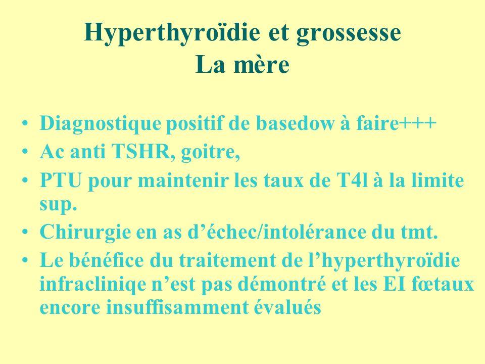 Hyperthyroïdie et grossesse La mère Diagnostique positif de basedow à faire+++ Ac anti TSHR, goitre, PTU pour maintenir les taux de T4l à la limite su