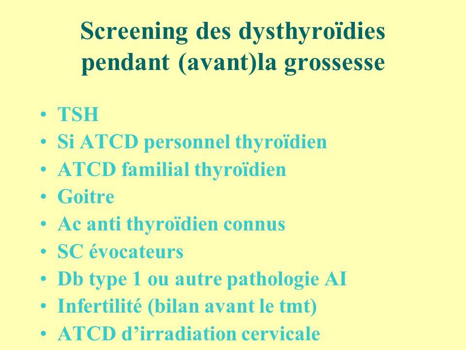 Screening des dysthyroïdies pendant (avant)la grossesse TSH Si ATCD personnel thyroïdien ATCD familial thyroïdien Goitre Ac anti thyroïdien connus SC