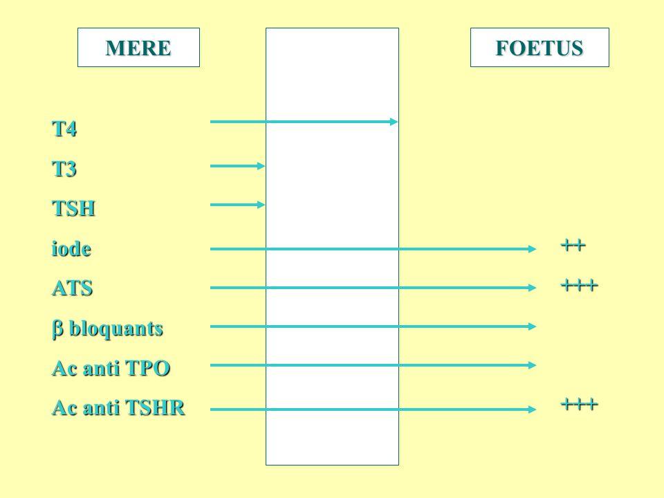 MEREFOETUS T4T3TSHiodeATS bloquants bloquants Ac anti TPO Ac anti TSHR ++++++++