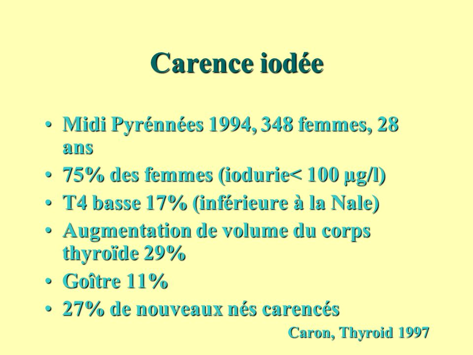 Carence iodée Midi Pyrénnées 1994, 348 femmes, 28 ansMidi Pyrénnées 1994, 348 femmes, 28 ans 75% des femmes (iodurie< 100 µg/l)75% des femmes (iodurie
