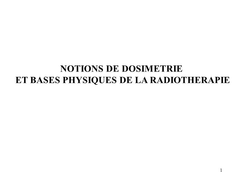 2 NOTIONS DE DOSIMETRIE I.