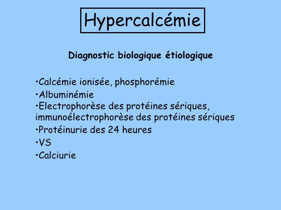 Hypercalcémie Calcémie ionisée, phosphorémie Albuminémie Electrophorèse des protéines sériques, immunoélectrophorèse des protéines sériques VS Calciur