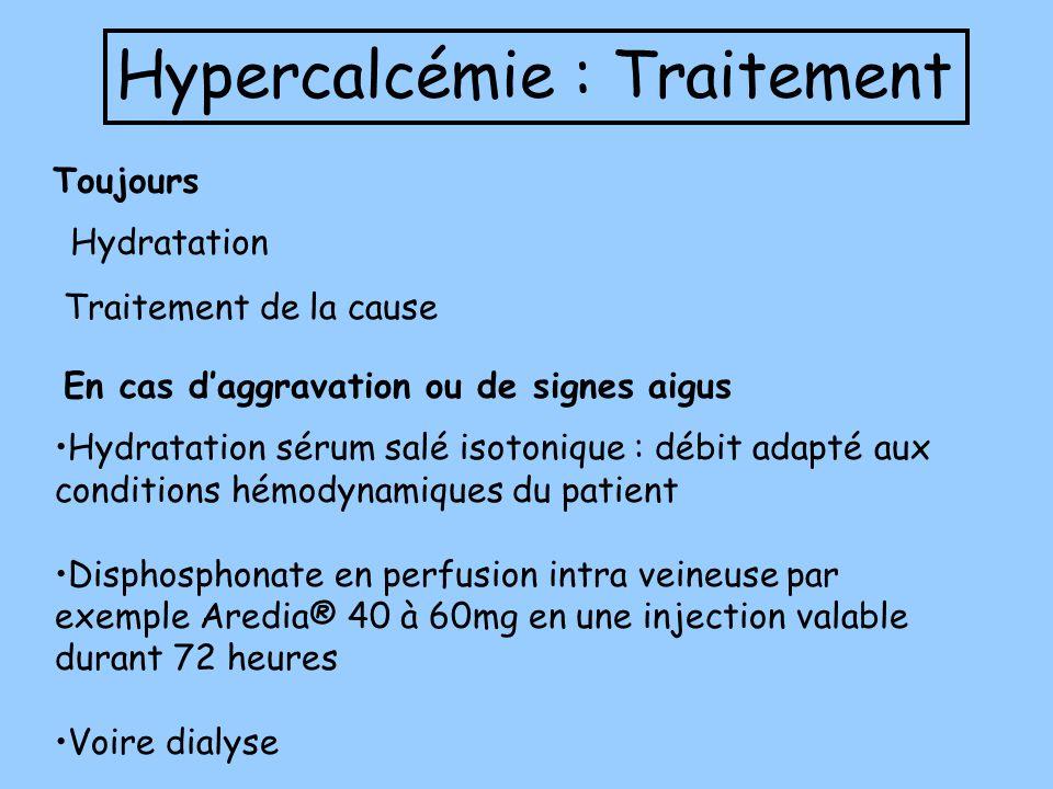 Hypercalcémie : Traitement Hydratation sérum salé isotonique : débit adapté aux conditions hémodynamiques du patient Disphosphonate en perfusion intra