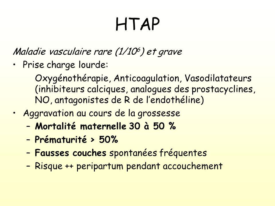 HTAP Maladie vasculaire rare (1/10 6 ) et grave Prise charge lourde: Oxygénothérapie, Anticoagulation, Vasodilatateurs (inhibiteurs calciques, analogues des prostacyclines, NO, antagonistes de R de lendothéline) Aggravation au cours de la grossesse –Mortalité maternelle 30 à 50 % –Prématurité > 50% –Fausses couches spontanées fréquentes –Risque ++ peripartum pendant accouchement