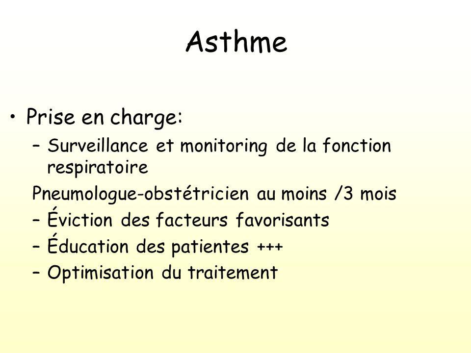 Asthme Prise en charge: –Surveillance et monitoring de la fonction respiratoire Pneumologue-obstétricien au moins /3 mois –Éviction des facteurs favorisants –Éducation des patientes +++ –Optimisation du traitement
