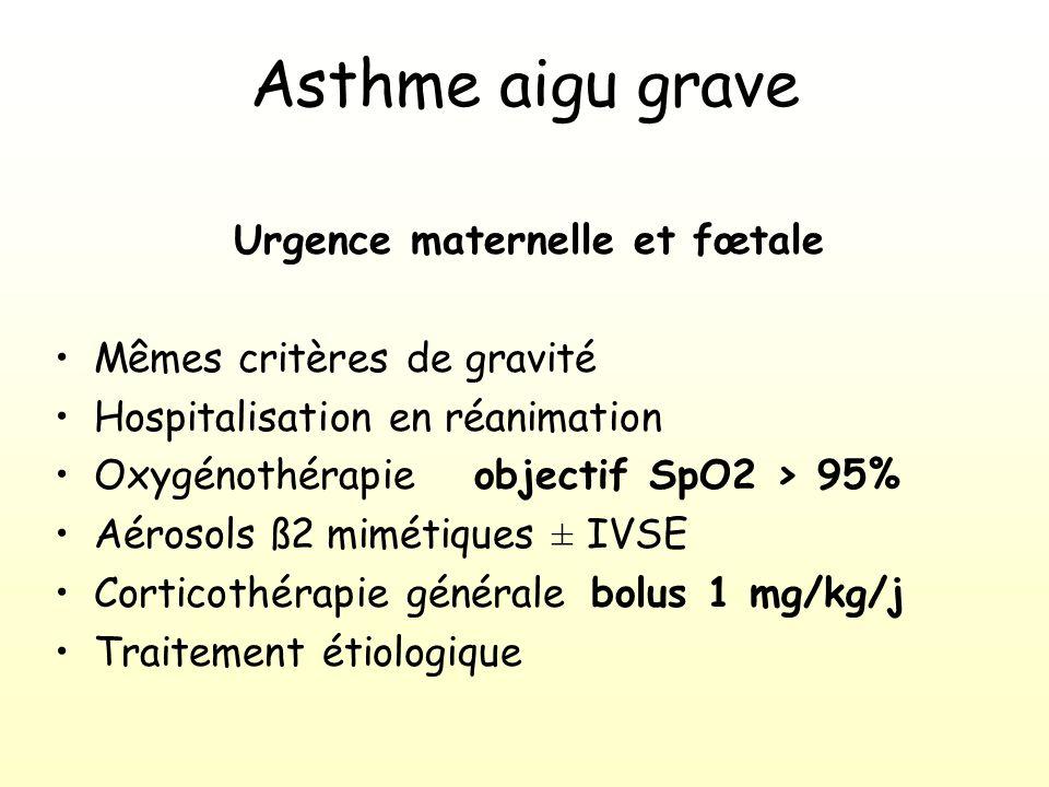 Asthme aigu grave Urgence maternelle et fœtale Mêmes critères de gravité Hospitalisation en réanimation Oxygénothérapie objectif SpO2 > 95% Aérosols ß2 mimétiques ± IVSE Corticothérapie générale bolus 1 mg/kg/j Traitement étiologique