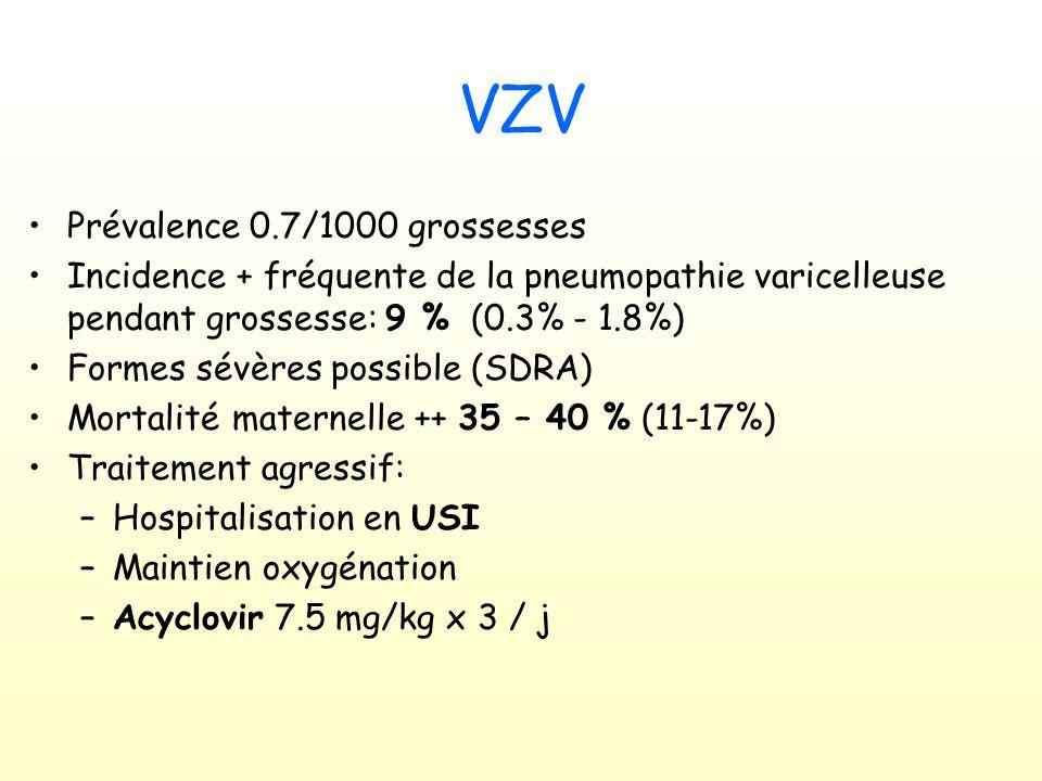 VZV Prévalence 0.7/1000 grossesses Incidence + fréquente de la pneumopathie varicelleuse pendant grossesse: 9 % (0.3% - 1.8%) Formes sévères possible (SDRA) Mortalité maternelle ++ 35 – 40 % (11-17%) Traitement agressif: –Hospitalisation en USI –Maintien oxygénation –Acyclovir 7.5 mg/kg x 3 / j