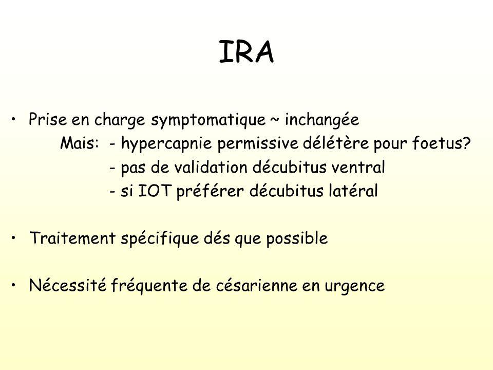 IRA Prise en charge symptomatique ~ inchangée Mais:- hypercapnie permissive délétère pour foetus.