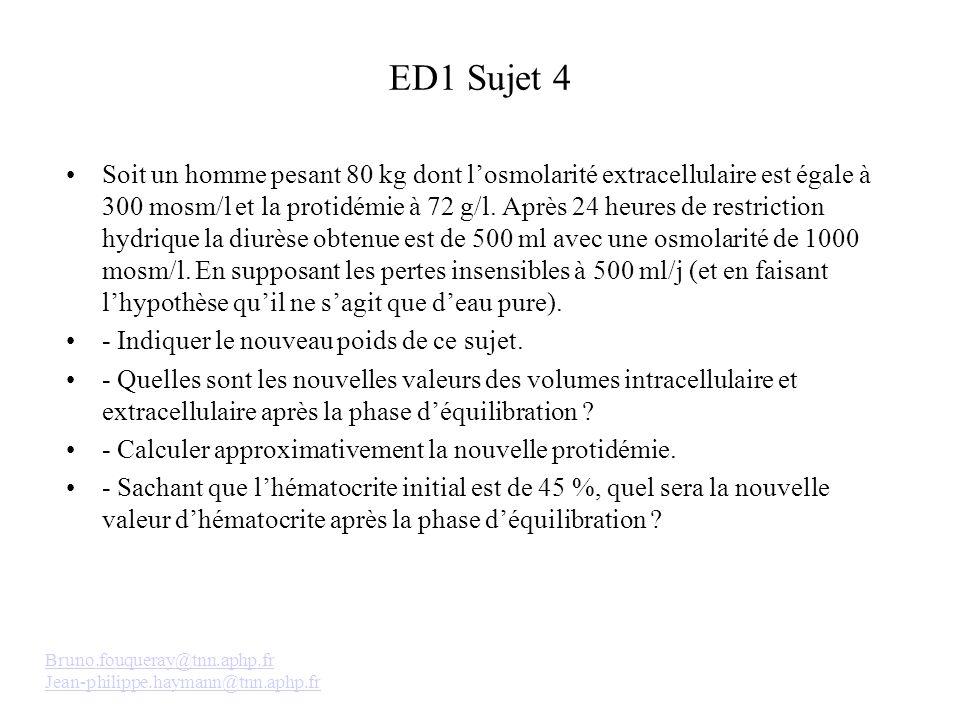 ED1 Sujet 4 Soit un homme pesant 80 kg dont losmolarité extracellulaire est égale à 300 mosm/l et la protidémie à 72 g/l. Après 24 heures de restricti