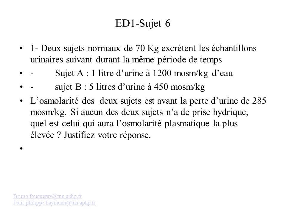 ED1-Sujet 6 1- Deux sujets normaux de 70 Kg excrètent les échantillons urinaires suivant durant la même période de temps - Sujet A : 1 litre durine à