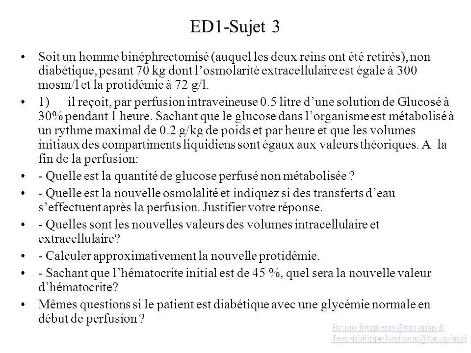 ED1-Sujet 3 Soit un homme binéphrectomisé (auquel les deux reins ont été retirés), non diabétique, pesant 70 kg dont losmolarité extracellulaire est é