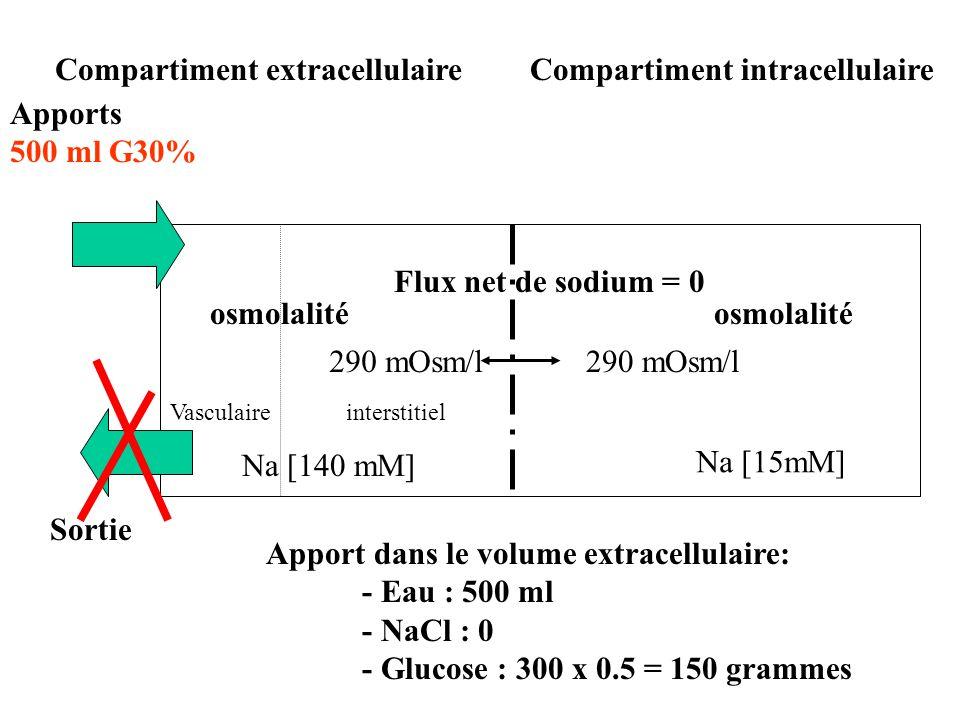osmolalité Compartiment intracellulaireCompartiment extracellulaire interstitielVasculaire Na [15mM] Na [140 mM] 290 mOsm/l Flux net de sodium = 0 Sor