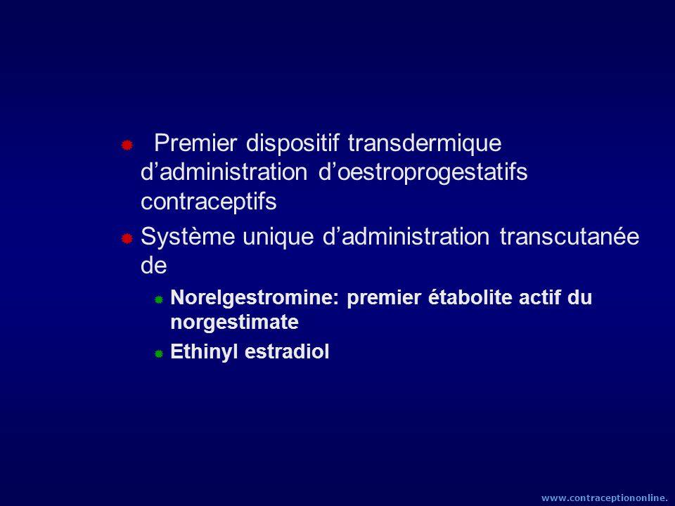 Premier dispositif transdermique dadministration doestroprogestatifs contraceptifs Système unique dadministration transcutanée de Norelgestromine: pre