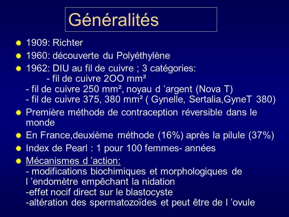 Généralités 1909: Richter 1960: découverte du Polyéthylène 1962: DIU au fil de cuivre ; 3 catégories: - fil de cuivre 2OO mm² - fil de cuivre 250 mm²,