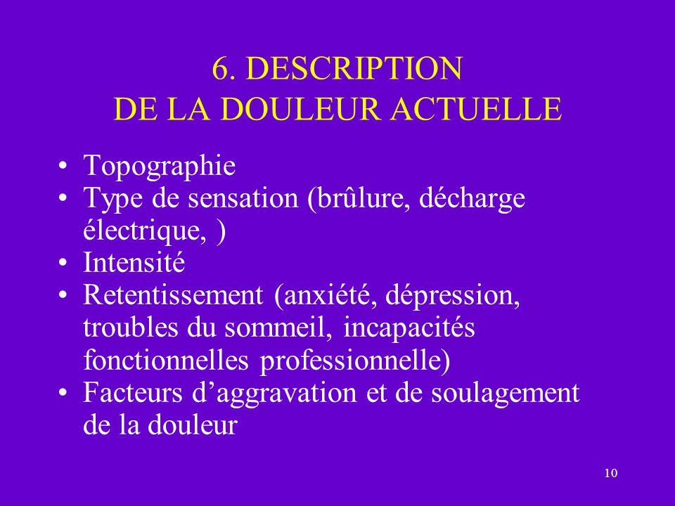 10 6. DESCRIPTION DE LA DOULEUR ACTUELLE Topographie Type de sensation (brûlure, décharge électrique, ) Intensité Retentissement (anxiété, dépression,