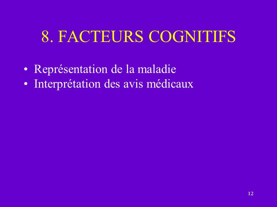 12 8. FACTEURS COGNITIFS Représentation de la maladie Interprétation des avis médicaux