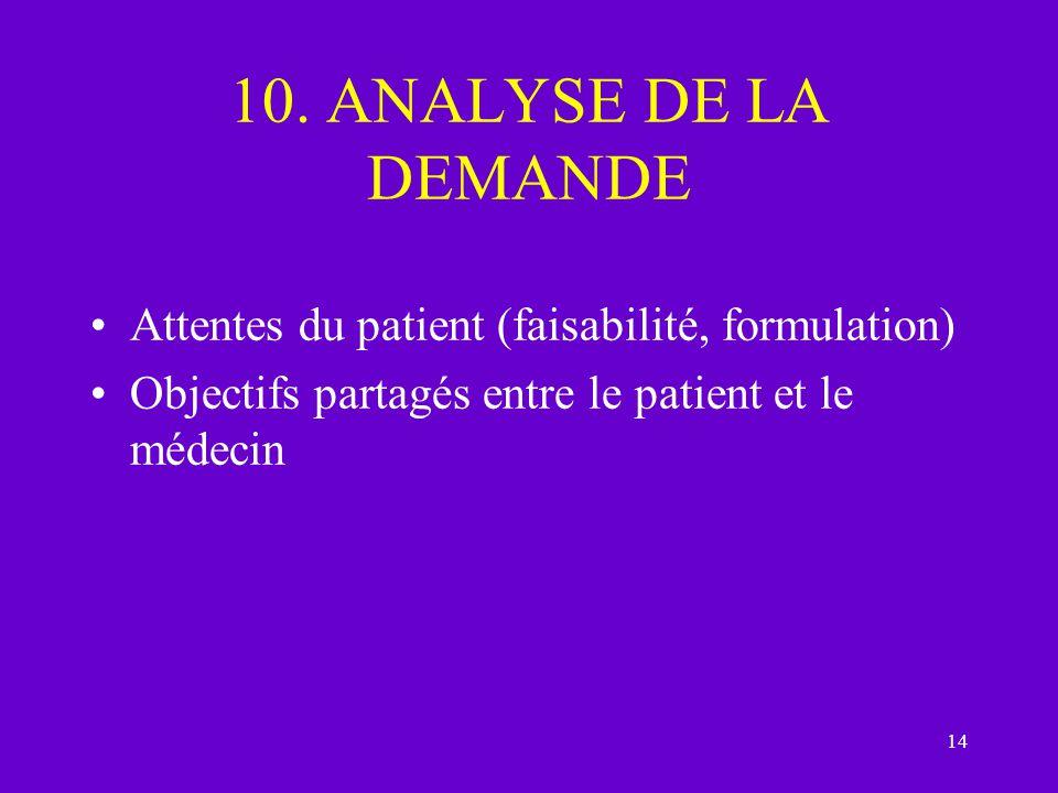 14 10. ANALYSE DE LA DEMANDE Attentes du patient (faisabilité, formulation) Objectifs partagés entre le patient et le médecin