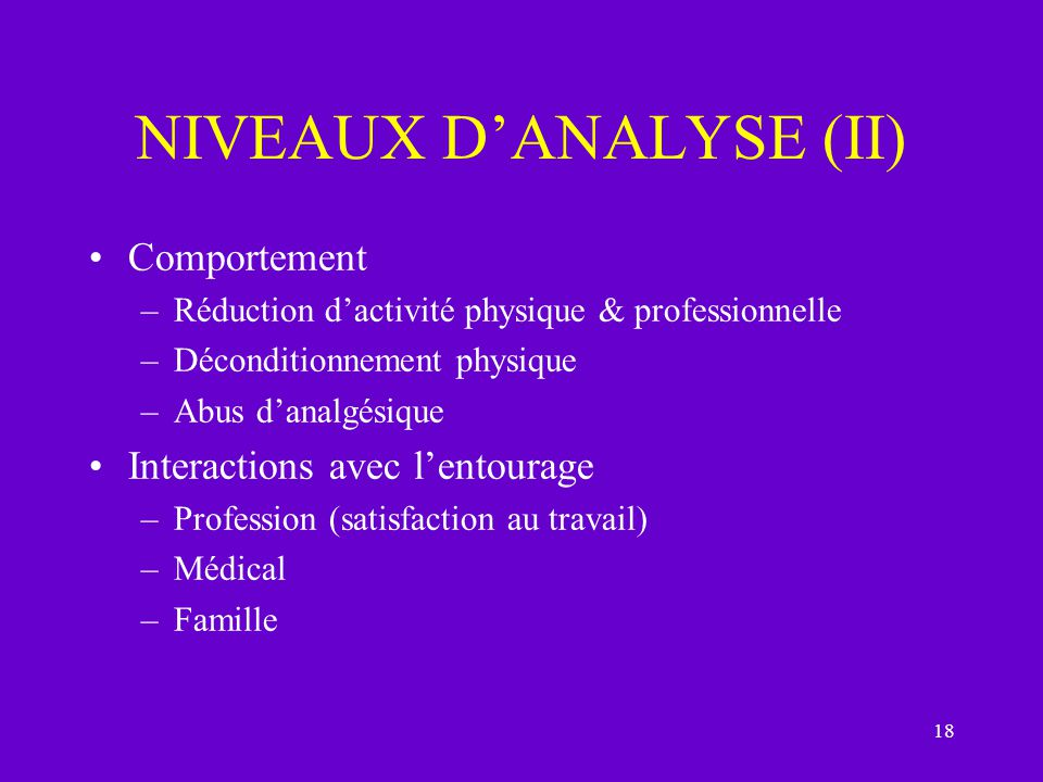 18 NIVEAUX DANALYSE (II) Comportement –Réduction dactivité physique & professionnelle –Déconditionnement physique –Abus danalgésique Interactions avec