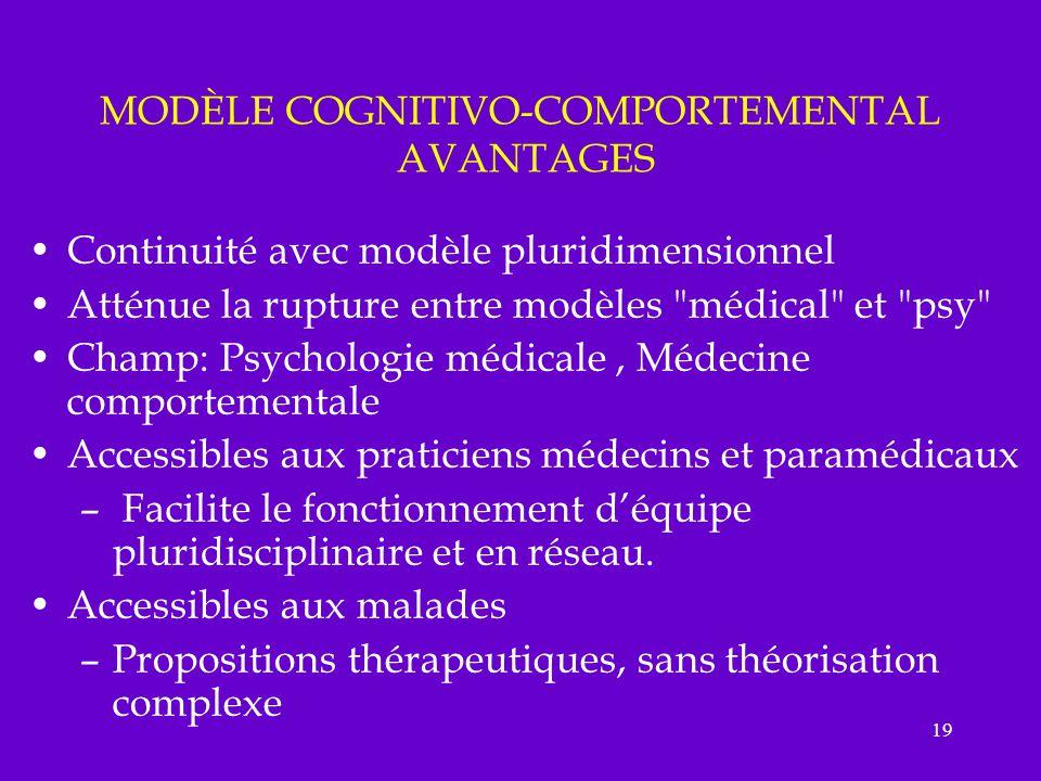 19 MODÈLE COGNITIVO-COMPORTEMENTAL AVANTAGES Continuité avec modèle pluridimensionnel Atténue la rupture entre modèles