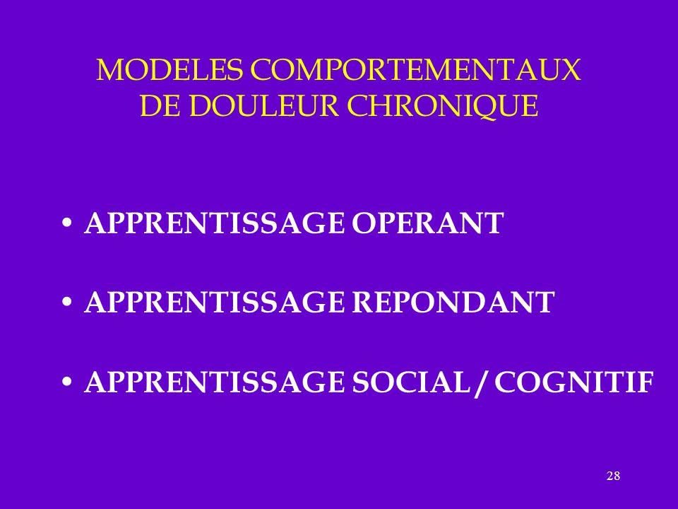 28 MODELES COMPORTEMENTAUX DE DOULEUR CHRONIQUE APPRENTISSAGE OPERANT APPRENTISSAGE REPONDANT APPRENTISSAGE SOCIAL / COGNITIF