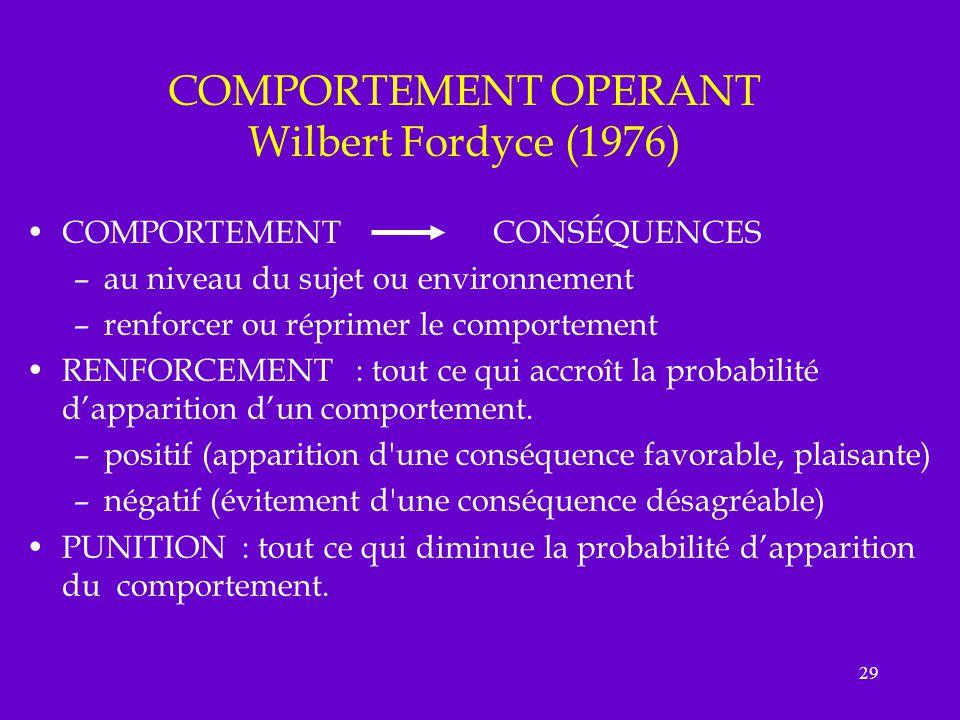 29 COMPORTEMENT OPERANT Wilbert Fordyce (1976) COMPORTEMENT CONSÉQUENCES –au niveau du sujet ou environnement –renforcer ou réprimer le comportement R