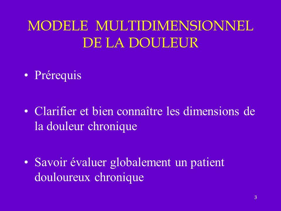 3 MODELE MULTIDIMENSIONNEL DE LA DOULEUR Prérequis Clarifier et bien connaître les dimensions de la douleur chronique Savoir évaluer globalement un pa
