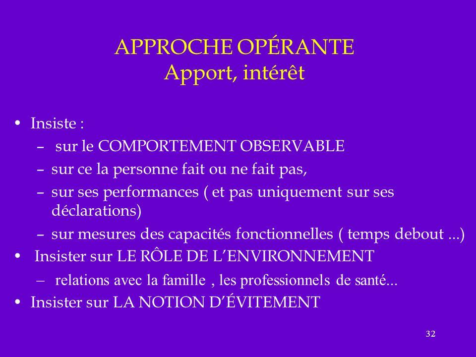 32 APPROCHE OPÉRANTE Apport, intérêt Insiste : – sur le COMPORTEMENT OBSERVABLE –sur ce la personne fait ou ne fait pas, –sur ses performances ( et pa