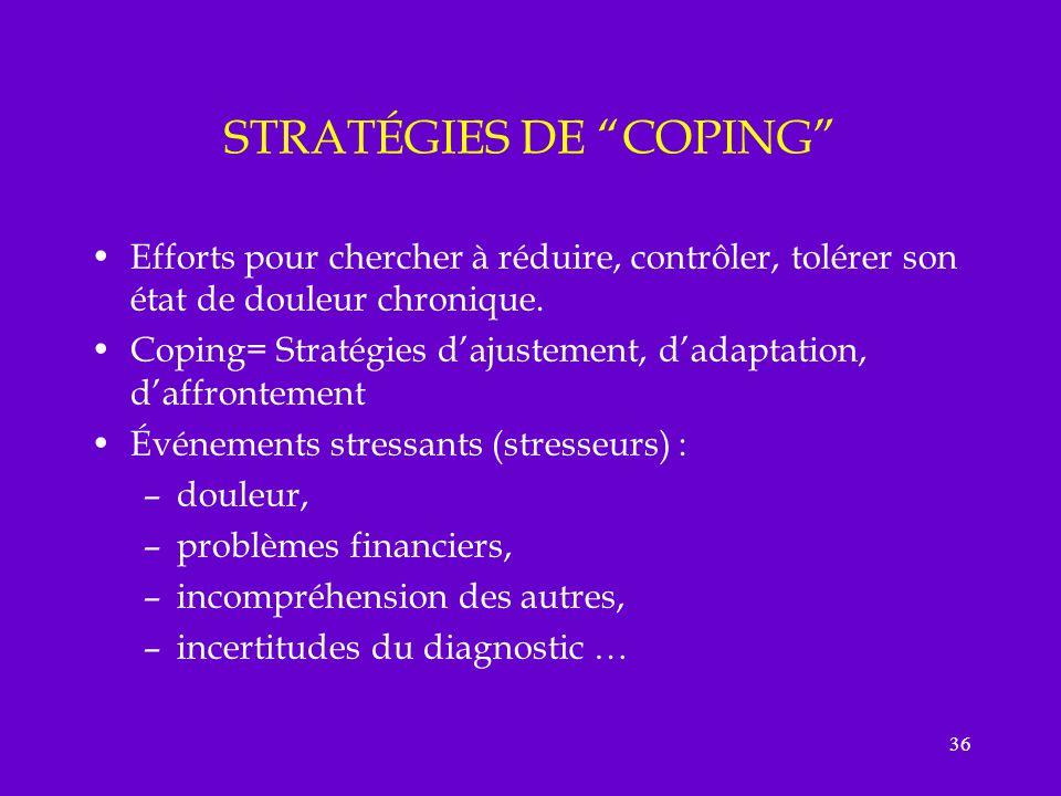 36 STRATÉGIES DE COPING Efforts pour chercher à réduire, contrôler, tolérer son état de douleur chronique. Coping= Stratégies dajustement, dadaptation