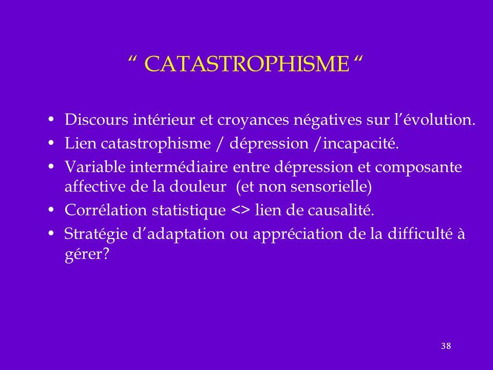 38 CATASTROPHISME Discours intérieur et croyances négatives sur lévolution. Lien catastrophisme / dépression /incapacité. Variable intermédiaire entre