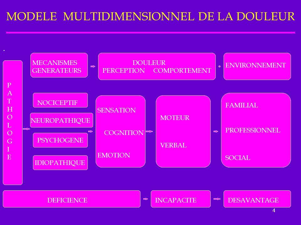 4 MODELE MULTIDIMENSIONNEL DE LA DOULEUR. PATHOLOGIEPATHOLOGIE MECANISMES GENERATEURS DOULEUR PERCEPTION COMPORTEMENT ENVIRONNEMENT NOCICEPTIF NEUROPA