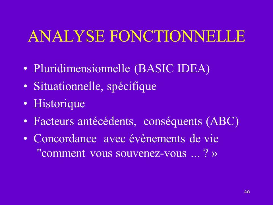 46 ANALYSE FONCTIONNELLE Pluridimensionnelle (BASIC IDEA) Situationnelle, spécifique Historique Facteurs antécédents, conséquents (ABC) Concordance av