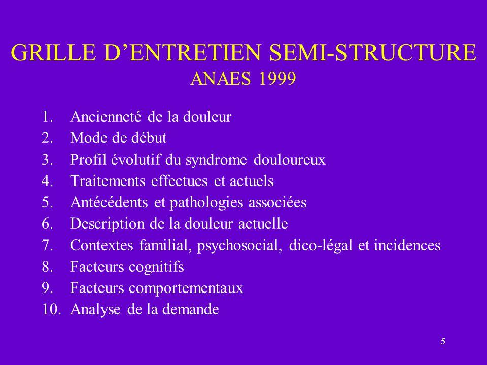 5 GRILLE DENTRETIEN SEMI-STRUCTURE ANAES 1999 1.Ancienneté de la douleur 2.Mode de début 3.Profil évolutif du syndrome douloureux 4.Traitements effect